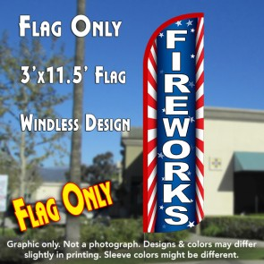 Fireworks (Starburst) Windless Polyknit Feather Flag (3 x 11.5 feet)