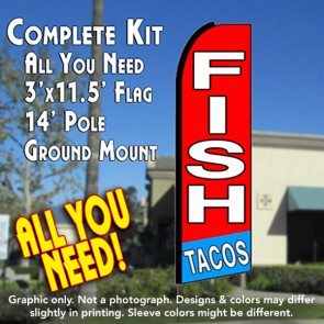 fish tacos red flutter feather banner flag kit