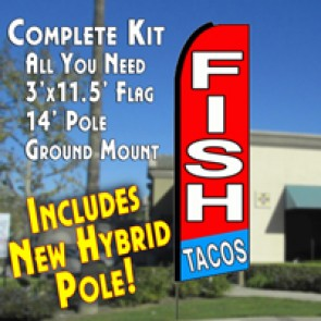 Fish Tacos (Red/White/Blue) Feather Banner Flag Kit (Flag, Pole, & Ground Mt)