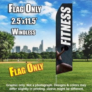 FITNESS gray flutter flag