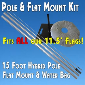 Feather Flag Flat Mount Kit (Hybrid Pole, Flat Base Mount, Water Bag) includes any flag of your choice