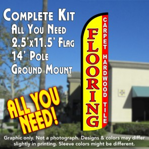 FLOORING (Carpet Tile Hardwood) Windless Feather Banner Flag Kit (Flag, Pole, & Ground Mt)