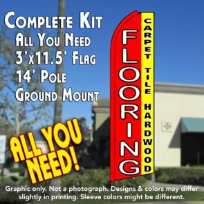 FLOORING CARPET TILE HARDWOOD (Red/Yellow) Flutter Feather Banner Flag Kit (Flag, Pole, & Ground Mt)