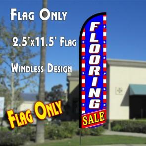 FLOORING SALE (Blue/White/Stars) Windless Polyknit Feather Flag (2.5 x 11.5 feet)