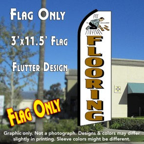 FLOORING (White) Flutter Feather Banner Flag (11.5 x 3 Feet)