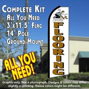 FLOORING (White) Flutter Feather Banner Flag Kit (Flag, Pole, & Ground Mt)