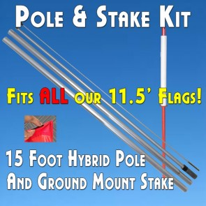 Flutter Feather Flag Ground Stake Kit (Aluminum Pole and Mount)