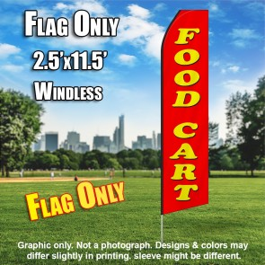 FOOD CART red yellow flutter flag