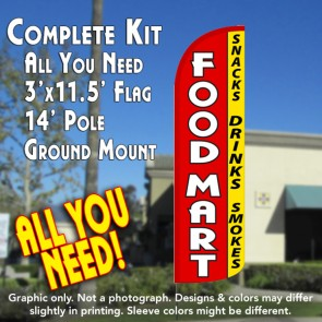 Food Mart (Snacks, Drinks, Smokes) Windless Feather Banner Flag Kit (Flag, Pole, & Ground Mt)