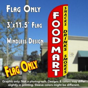Food Mart (Snacks, Drinks, Smokes) Windless Polyknit Feather Flag (3 x 11.5 feet)