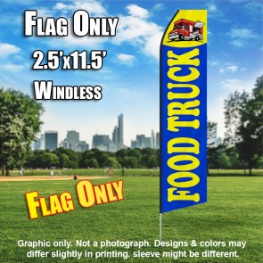 FOOD TRUCK blue yellow flutter flag