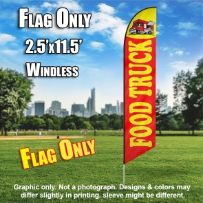 Food Truck Red yellow windless Feather Banner Flag
