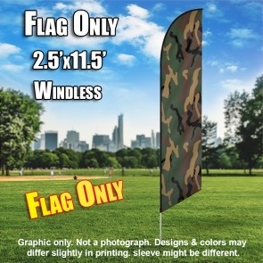 Jungle Camo windless Feather Banner Flag