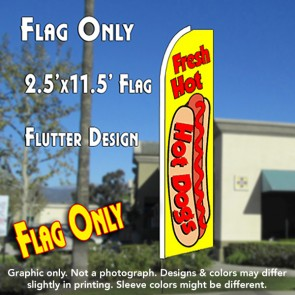 FRESH HOT DOGS (Yellow) Flutter Feather Banner Flag (11.5 x 2.5 Feet)