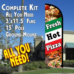 Fresh Hot Pizza (Tri-Color) Windless Feather Banner Flag Kit (Flag, Pole, & Ground Mt)