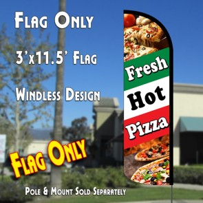 Fresh Hot Pizza (Tri-Color) Windless Polyknit Feather Flag (3 x 11.5 feet)