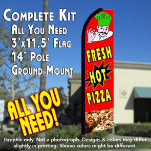 FRESH HOT PIZZA (Red) Flutter Feather Banner Flag Kit (Flag, Pole, & Ground Mt)