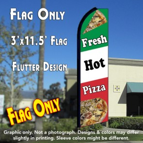 FRESH HOT PIZZA (Tri-Color) Flutter Feather Banner Flag (11.5 x 3 Feet)