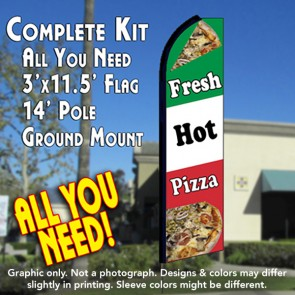 FRESH HOT PIZZA (Tri-Color) Flutter Feather Banner Flag Kit (Flag, Pole, & Ground Mt)