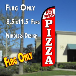 FRESH HOT PIZZA (White/Red) Windless Polyknit Feather Flag (2.5 x 11.5 feet)