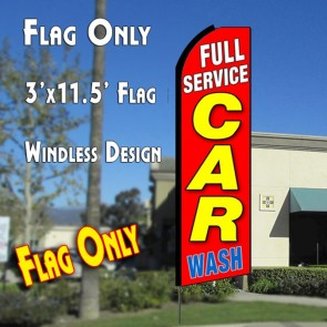 FULL SERVICE CAR WASH (Red) Flutter Feather Banner Flag (11.5 x 3 Feet)