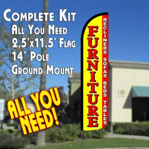 Furniture Sale (Yellow/red)  Feather Banner Flag Kit (Flag, Pole, & Ground Mt)
