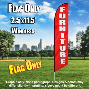 FURNITURE red white windless flag