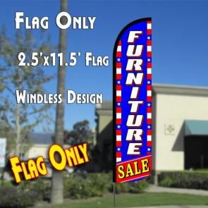 FURNITURE SALE (Blue/White/Stars) Windless Polyknit Feather Flag (2.5 x 11.5 feet)
