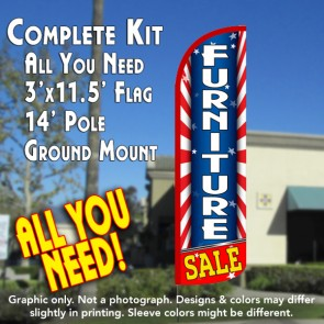 Furniture Sale (Starburst) Windless Feather Banner Flag Kit (Flag, Pole, & Ground Mt)