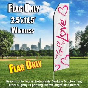 GIFT OF LOVE white pink windless flag
