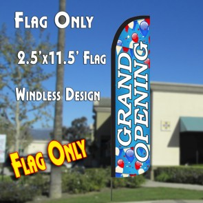 GRAND OPENING (Blue/White) Windless Polyknit Feather Flag (2.5 x 11.5 feet)