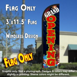 Grand Opening (Fireworks) Windless Polyknit Feather Flag (3 x 11.5 feet)