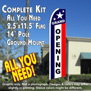 GRAND OPENING (Patriotic) Flutter Feather Banner Flag Kit (Flag, Pole, & Ground Mt)