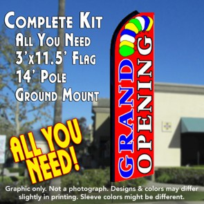 GRAND OPENING (Red) Flutter Feather Banner Flag Kit (Flag, Pole, & Ground Mt)