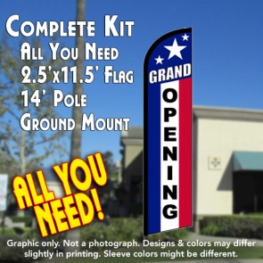 GRAND OPENING (RWB) Windless Feather Banner Flag Kit (Flag, Pole, & Ground Mt)