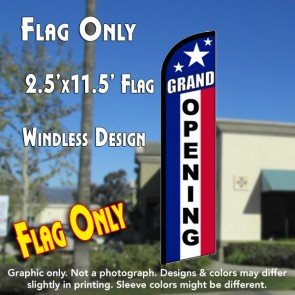 GRAND OPENING (RWB) Windless Feather Banner Flag (2.5 x 11.5 Feet)