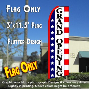 GRAND OPENING (Stars & Stripes) Flutter Feather Banner Flag (11.5 x 3 Feet)