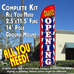 GRAND OPENING (Sunburst) Windless Feather Banner Flag Kit (Flag, Pole, & Ground Mt)