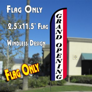 GRAND OPENING (National) Windless Polyknit Feather Flag (2.5 x 11.5 feet)