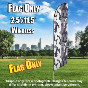 Winter Camo Gray white windless Feather Banner Flag