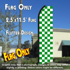 Checkered GREEN/WHITE Flutter Polyknit Feather Flag (11.5 x 2.5 feet)