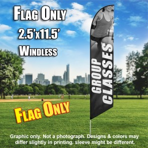 Group Classes Women Fitness (Gray/White) Windless Feather Flag
