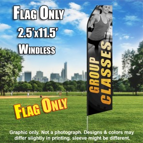 Group Classes Women Fitness (Gray/Yellow) Econo Feather Flag