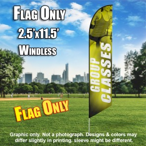 Group Classes Women Fitness (Yellow/White) Windless Feather Flag