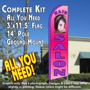HAIR SALON (Pink) Flutter Feather Banner Flag Kit