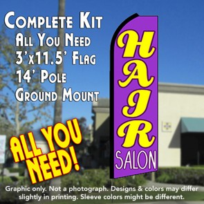 HAIR SALON (Purple) Flutter Feather Banner Flag Kit