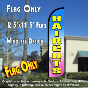HAIRCUTS (Blue/Yellow) Windless Polyknit Feather Flag