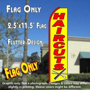 haircuts flutter  feather banner flag yellow with scissors