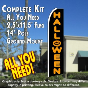 HALLOWEEN Flutter Feather Banner Flag Kit (Flag, Pole, & Ground Mt)