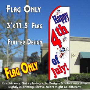 HAPPY 4th OF JULY (White) Flutter Feather Banner Flag (11.5 x 3 Feet)